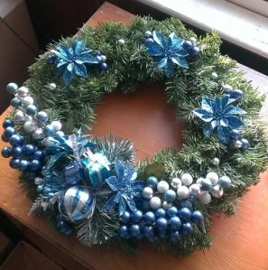 Searched high and low through all the picks at Michaels and created this wreath for the front door.